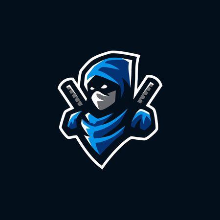 ninja mascot logo illustration. ninja gaming esport logo.