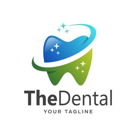 dental logo simple clean gradient. tooth logo gradient simple.