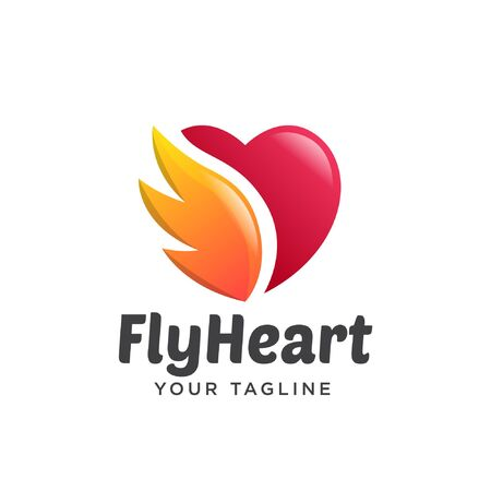 amour logo dégradé simple propre. les ailes d'amour nettoient le dégradé de logo simple 3d.