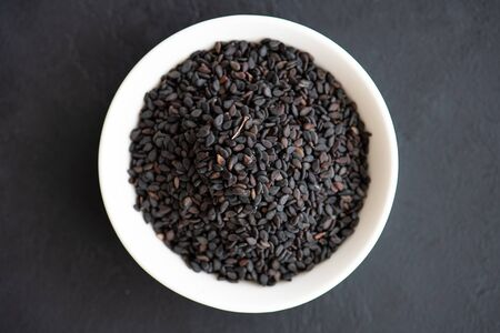 spices for cooking - black sesame seeds close-up