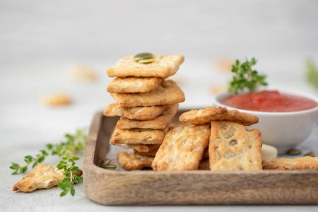 italian crackers with sunflower seeds and olive oil