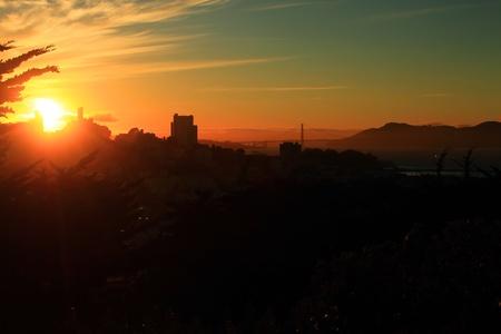 nob hill: A bay sunset Stock Photo