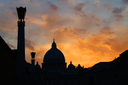 Sunset taken from Conciliazione street towards Vatican City photo