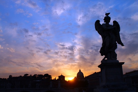 A coloured shot of sunset in Rome photo