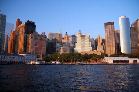 Sunset over Battery Park in New York