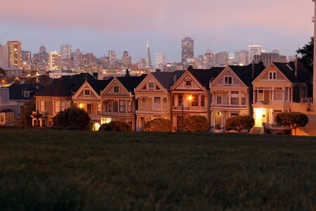 The magic sunset in Alamo Square in San Francisco