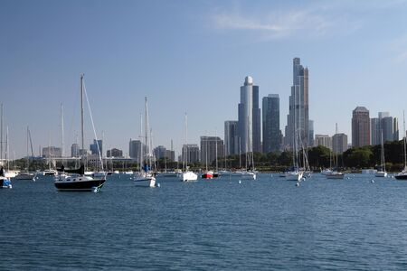 Chicago skyscrapers from the lake with boats