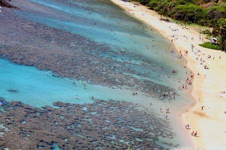 The beach of Hanauma Bay in Honolulu
