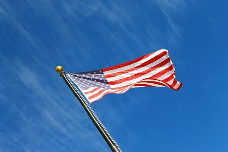 United States of America flag with blue sky