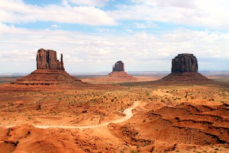 The unpaved street in the Monument Valley in Utah Stock Photo