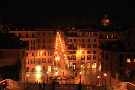 The beautiful Rome by night with orange lights