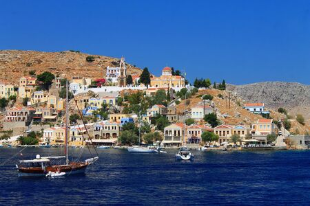 The church at the top of Simi island in Greece