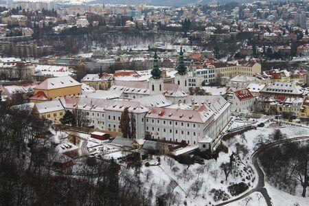 Strahov monastery covered of snow in Prague