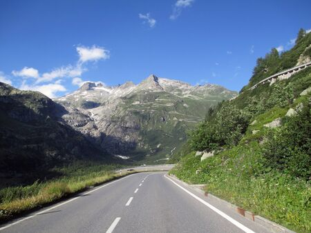 The road and the high switchbacks in Switzerland