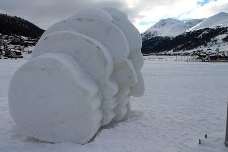 Four heads made with ice in Livigno
