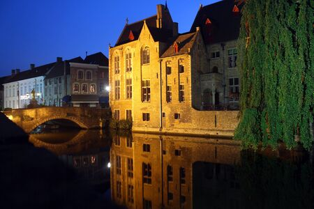 The night waterways of Bruges in Belgium