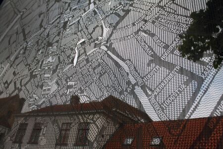 A lace map of Bruges in Belgium Фото со стока