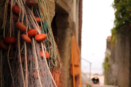 The hanged colored fishing net 写真素材