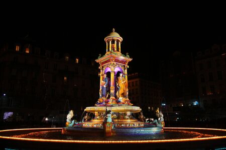 The lights on the Jacobin fountain
