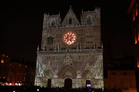 The lights projected on the Lyon cathedral