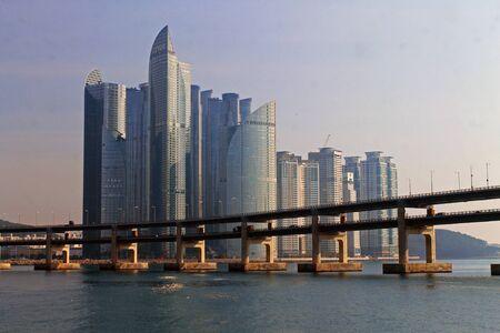 Skyscrapers and bridge in the Busan panorama