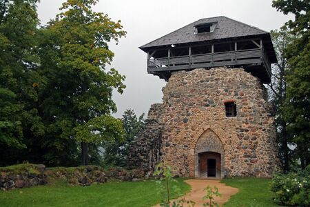 The old Sigulda tower in the protection wall
