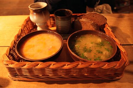 typical Baltic soups with hand made cups Stok Fotoğraf