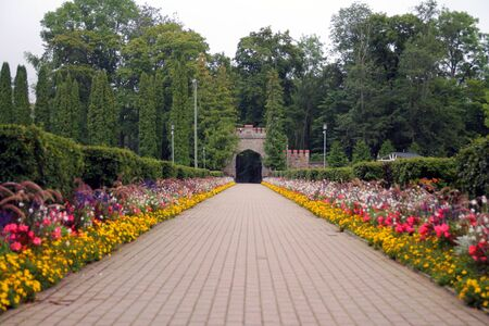 The new gate of Sigulda with the colored flowers