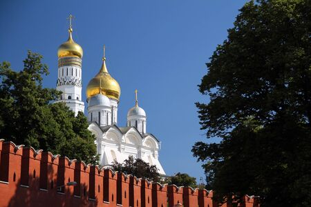 The golden domes of a church in the kremlin