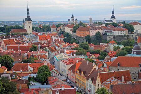 Downtown historical medieval Tallinn skyline with colored houses Stok Fotoğraf