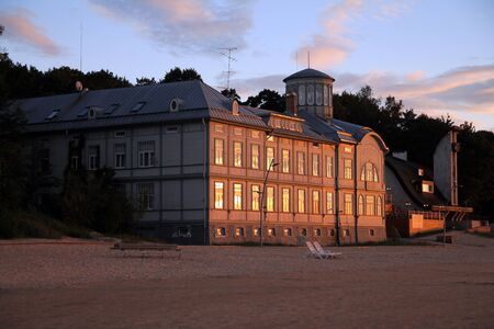 The old Jurmala bath house at sunset Stock fotó
