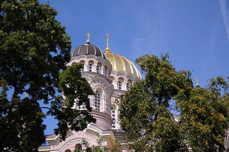 Golden domes of Nativity Church in Riga