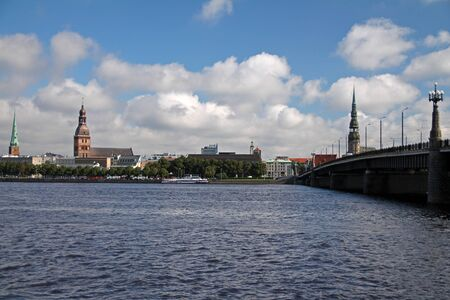 Riga panorama from the opposite side of the river Stock fotó