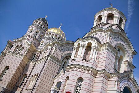 Close up of the Nativity Church in Riga