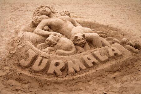 Jurmala sand sculpture on the beach walk Stock fotó