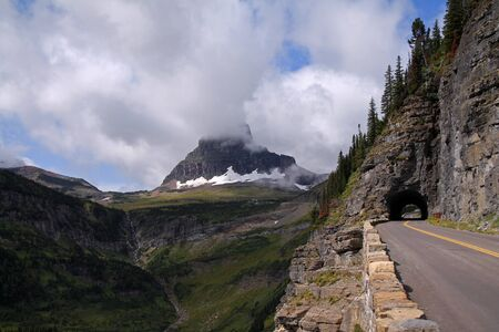 View of Going-to-the-sun Road in Glacier National Park Фото со стока