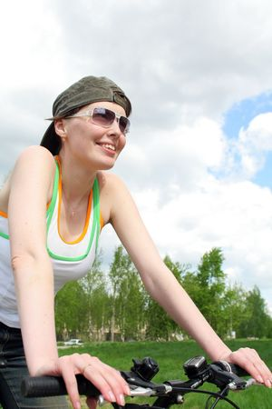 Young biker woman looking where to go Stock Photo - 969655