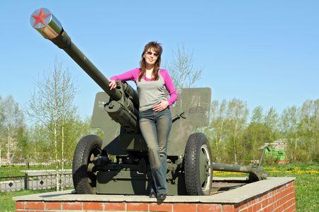 soviet union: Soviet Union cannon and girl Stock Photo