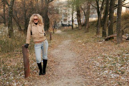 Beautiful girl in autumn park  photo