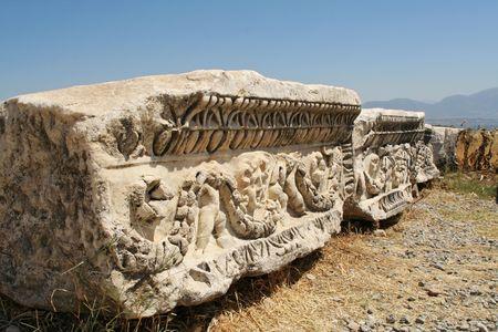 tremor: ancient debris stones of antique pamukkale theatre Stock Photo