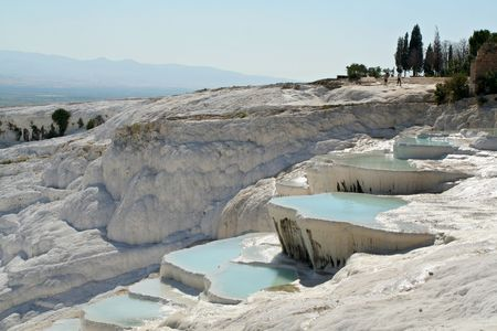 carbonates: mineral water geyser made terraces for healthy bath Stock Photo