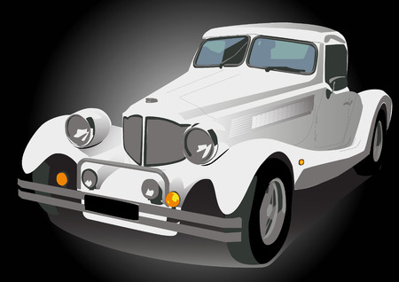 wite: Vector illustration wite vintage retro car isolated