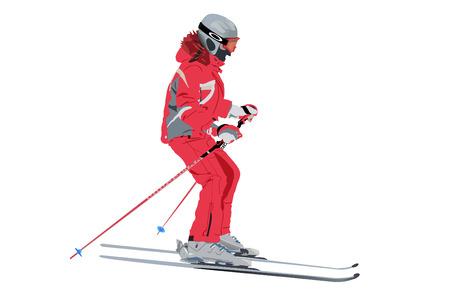 skier: vector skier in red skisuit sliding downhill