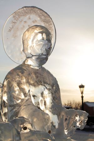 ice sculpture of saint person lighted back Stock Photo - 2521822