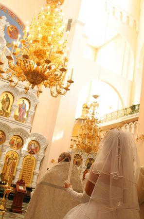 Wedding ceremony in orthodox church at Ekaterinburg