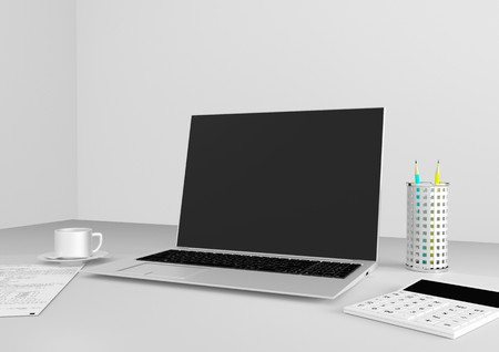 accountants: Desk accountant - a cup of coffee, computer, calculator, reports Stock Photo