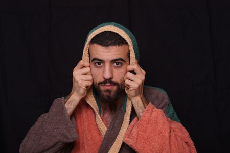negligee: man after the shower in bathrobe Stock Photo