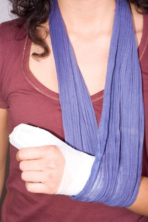 girl with an injured hand Stock Photo - 6521204