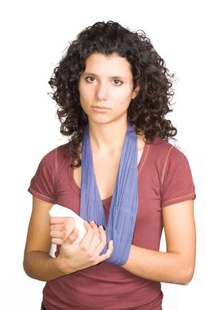 girl with an injured hand Stock Photo