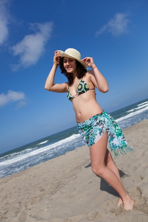 young woman wearing swimsuit at the seaside Stock Photo - 7013735
